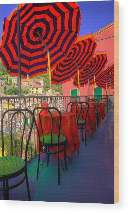Cinque Terre Wood Print featuring the photograph Colorful Lunchtime. by Eggers Photography