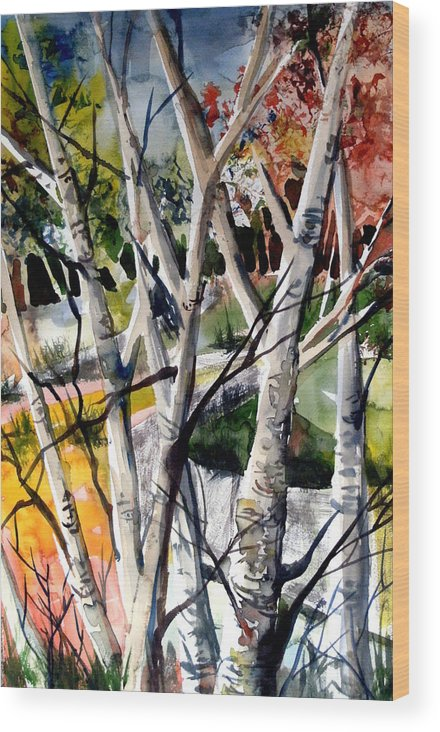 Autumn Wood Print featuring the painting Colors Of A Prayer by Mindy Newman