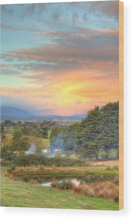 Colourful Wood Print featuring the photograph Colourful Clouds At Sunset Yarra Glen 09-05-2015 by Bert Ernie