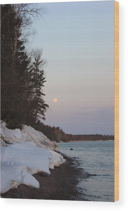 Pure Wood Print featuring the photograph Copper Country Moonset Portrait by Two Bridges North