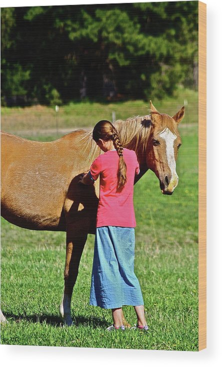 Girl Wood Print featuring the photograph Country Girl by Diana Hatcher