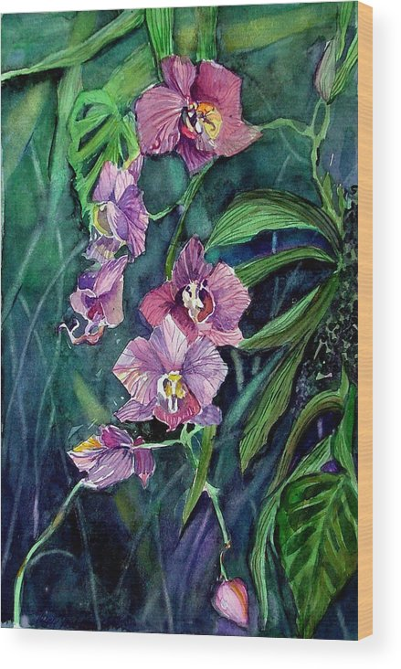 Orchid Wood Print featuring the painting Dark Orchid by Mindy Newman