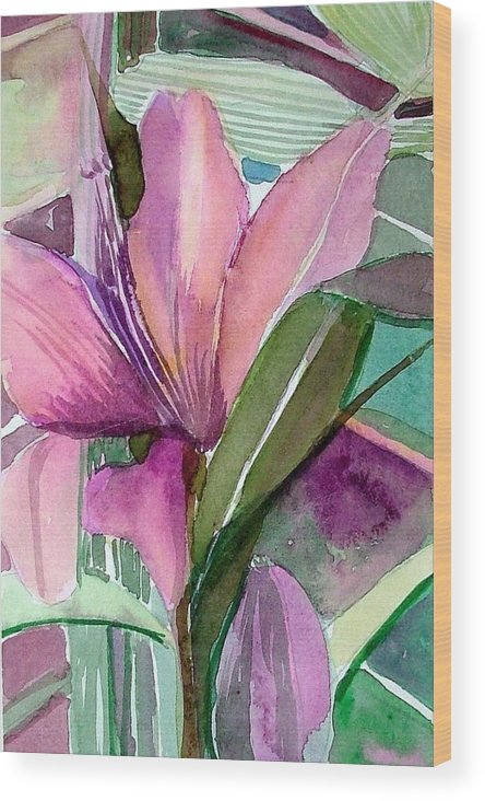 Flower Wood Print featuring the painting Day Lily Pink by Mindy Newman