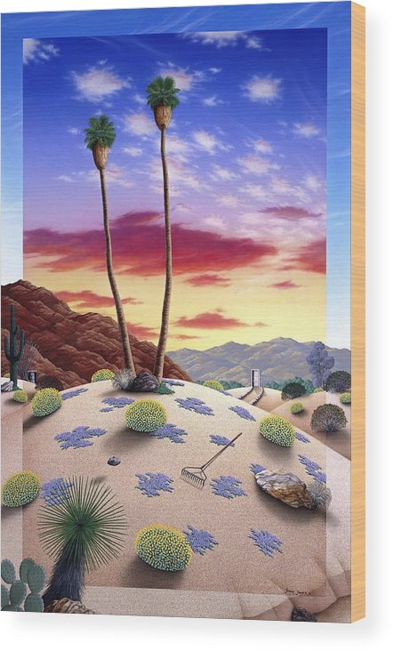 Desert Wood Print featuring the painting Desert Sunrise by Snake Jagger