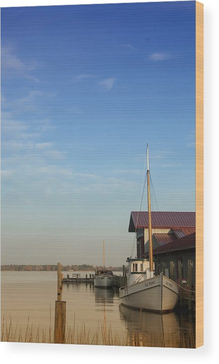 Boat Wood Print featuring the photograph Docked by Bill Cannon