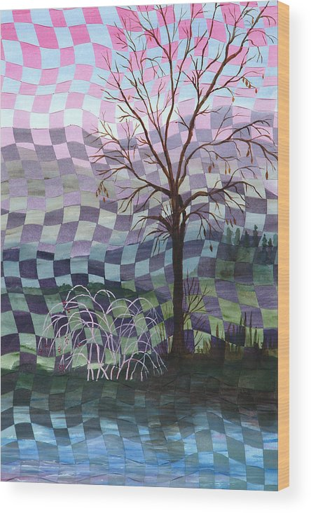 Tree Wood Print featuring the painting Down By The River by Linda L Doucette