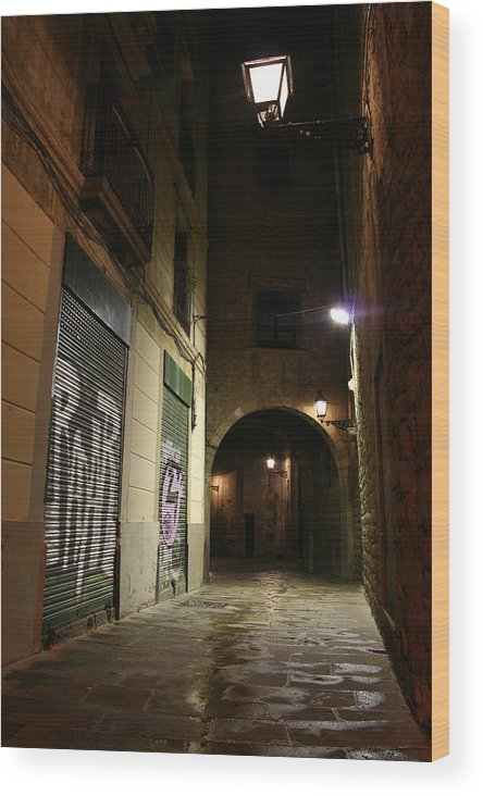 Barcelona Wood Print featuring the photograph Down The Path by Jason Hochman