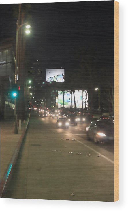 Street Lights Wood Print featuring the photograph Downtown 0767 by Edward Ruth