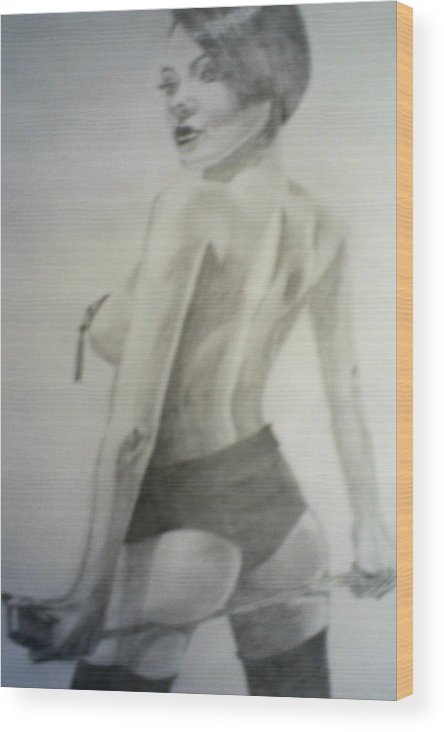 Model Wood Print featuring the drawing drawing of Vikki Blows by James Dolan