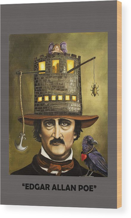 Poe Wood Print featuring the painting Edgar Allan Poe With Lettering by Leah Saulnier The Painting Maniac