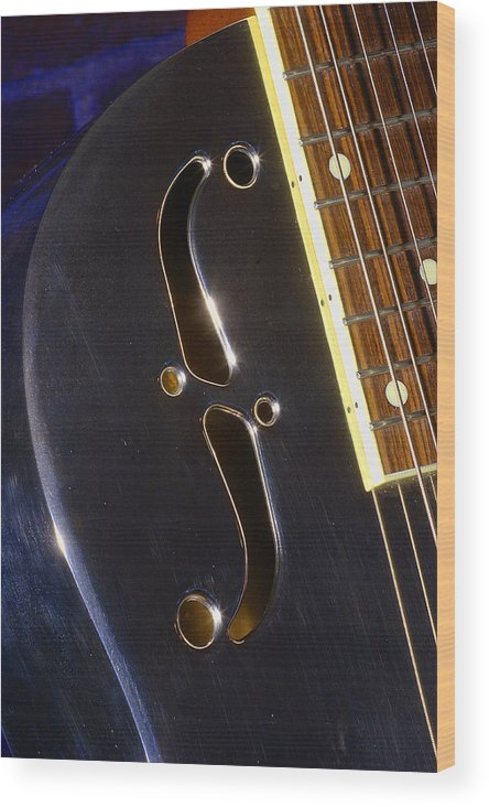 Music Wood Print featuring the photograph Eds Guitars Steel1 by Art Ferrier