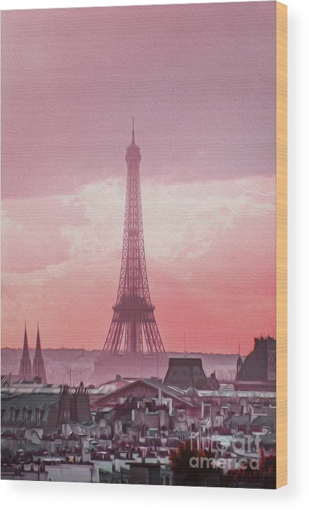 Paris Wood Print featuring the photograph Eiffel Tower Sunset Art by Alex Art and Photo