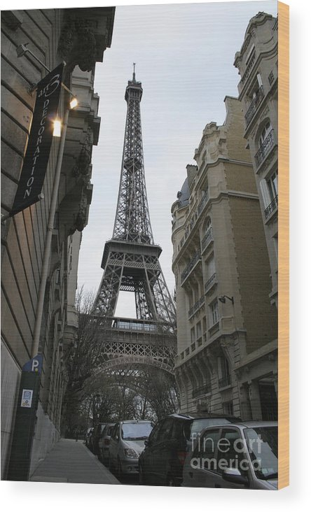 Eiffel Tower Wood Print featuring the photograph Eiffel Tower Through A Concrete Forest by Joshua Francia
