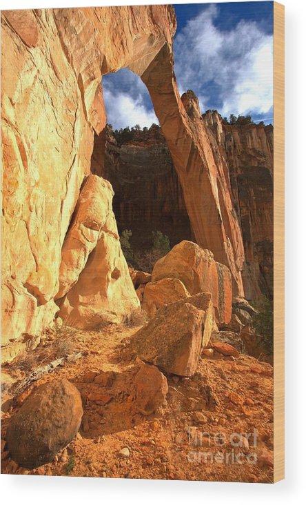El Malpais Wood Print featuring the photograph El Malpais La Ventana Arch by Adam Jewell