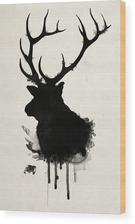 Elk Wood Print featuring the drawing Elk by Nicklas Gustafsson