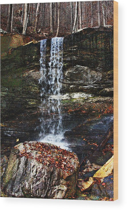 Waterfall Wood Print featuring the digital art Emory Gap Falls by Joselyn Holcombe