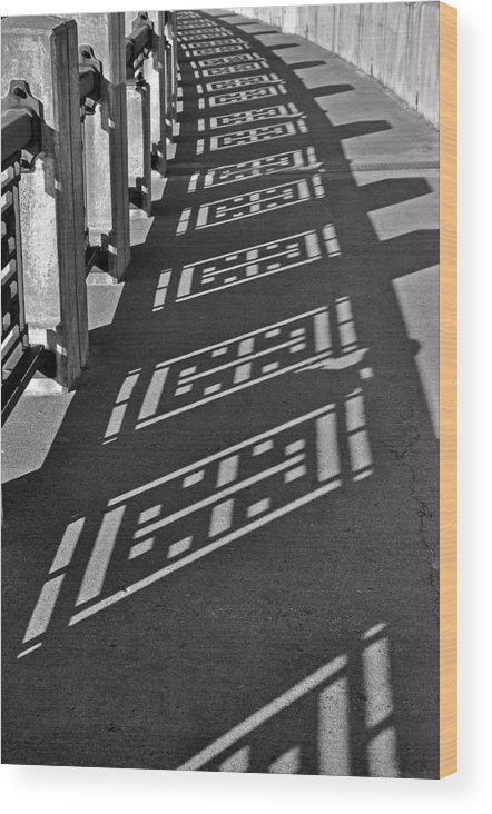 B&w Wood Print featuring the photograph Endless Walkway by John Ricker