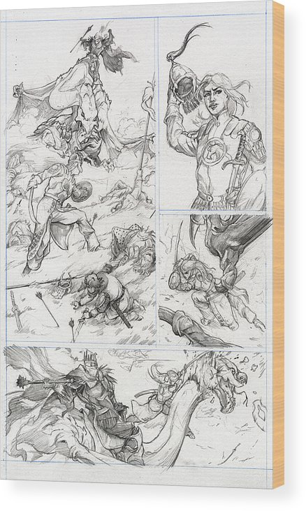 Lord Of The Rings Wood Print featuring the drawing Eowyn Vs. Nazgul Pg 1 by Storn Cook