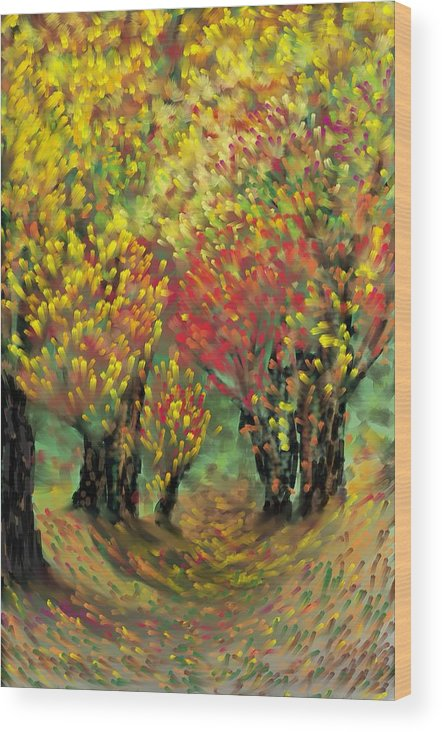 Landscape Wood Print featuring the painting Fall Impression by Harry Dusenberg