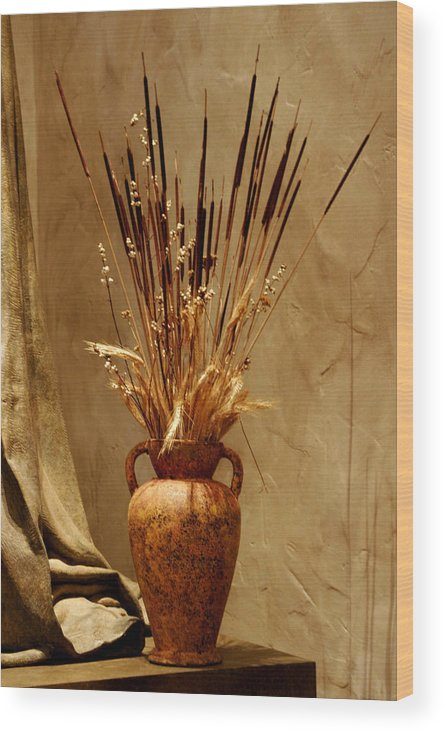 Fall Wood Print featuring the photograph Fall In A Vase Still-life by Christine Till