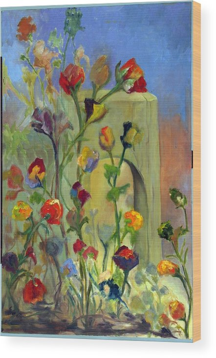 Flowers Wood Print featuring the painting Fantasy Flowers by Martha Zausmer paul