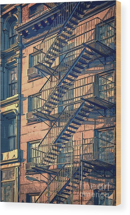 New York Wood Print featuring the drawing Fire Escape by Delphimages Photo Creations
