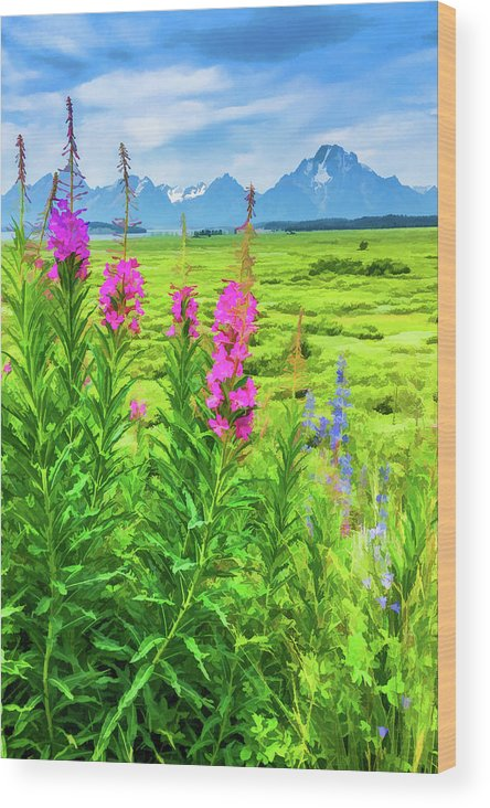 Grand Tetons Wood Print featuring the digital art Fireweed In The Foreground 2 by Lisa Lemmons-Powers