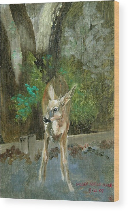 Deer Wood Print featuring the painting First Young Buck Pad by Eileen Hale