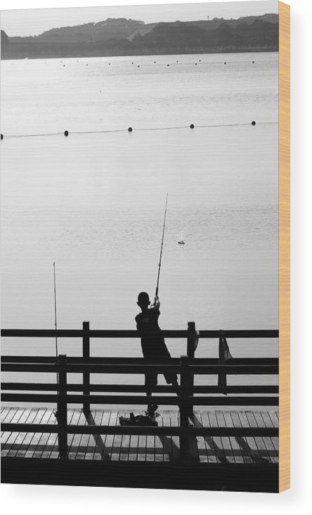 Activity Wood Print featuring the photograph Fishing Boy by Mark Mah