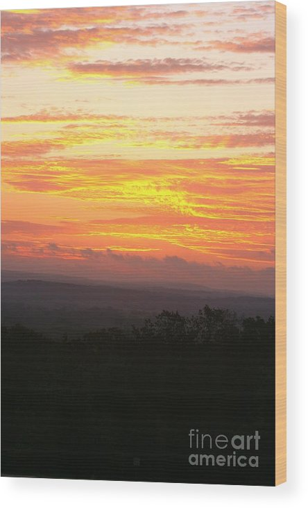 Sunrise Wood Print featuring the photograph Flaming Autumn Sunrise by Nadine Rippelmeyer