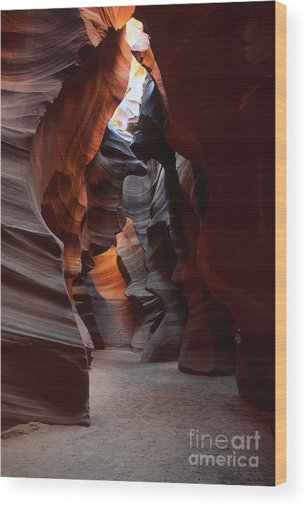 Slot Wood Print featuring the photograph Floor Of Antelope Canyon by Stan and Anne Foster