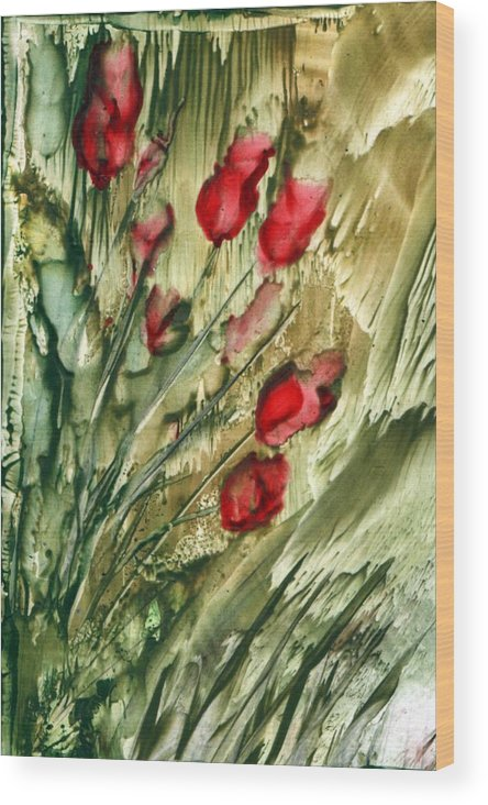 Flowers Wood Print featuring the painting Flowers by Alla Bechtold