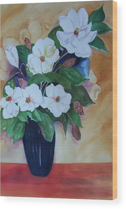 Floral Wood Print featuring the painting Flowers For The Table by Audrey Bunchkowski