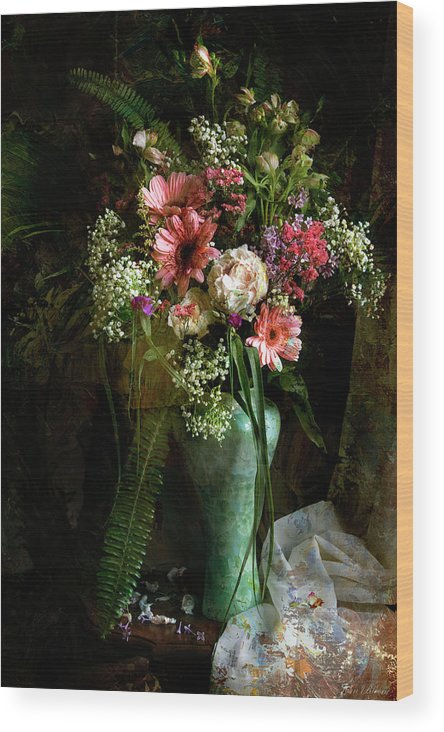 Floral Wood Print featuring the photograph Flowers Still Life by John Rivera