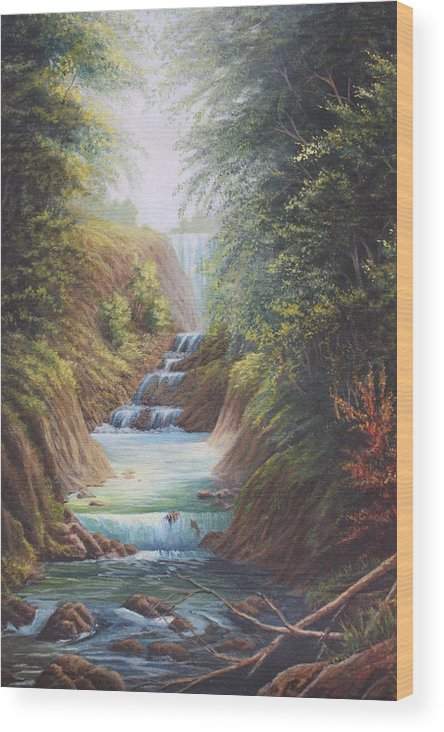 River Wood Print featuring the painting Flowing River by Diana Miller