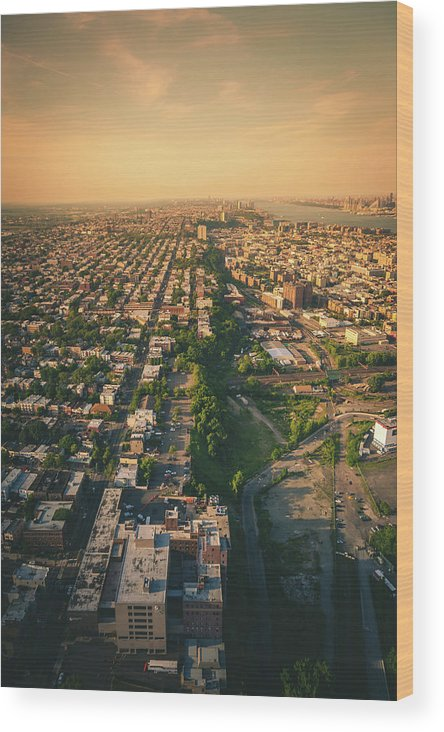 Aerial Wood Print featuring the photograph Flying Over Jersey City by Erik Nuenighoff