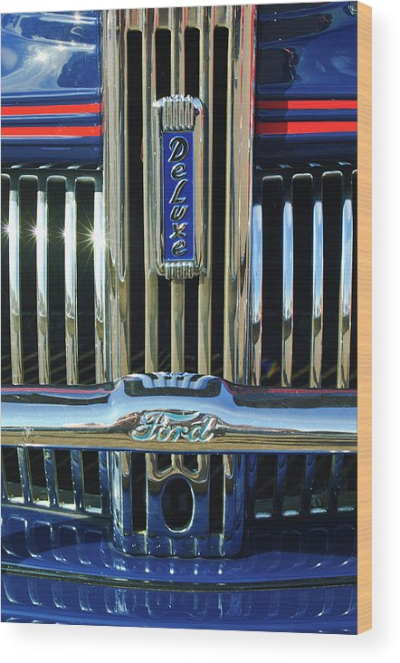 Ford Deluxe Wood Print featuring the photograph Ford Deluxe Grille by Jill Reger