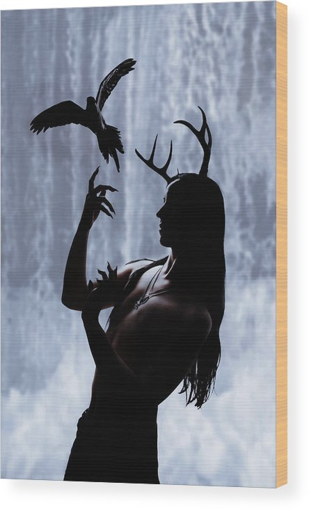 Antlers Wood Print featuring the digital art Forest Spirit by Cambion Art
