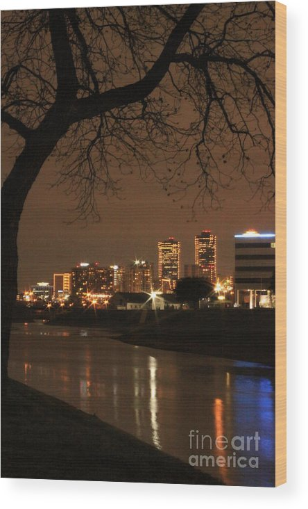 Night Wood Print featuring the photograph Fort Worth Skyline by Jill Smith