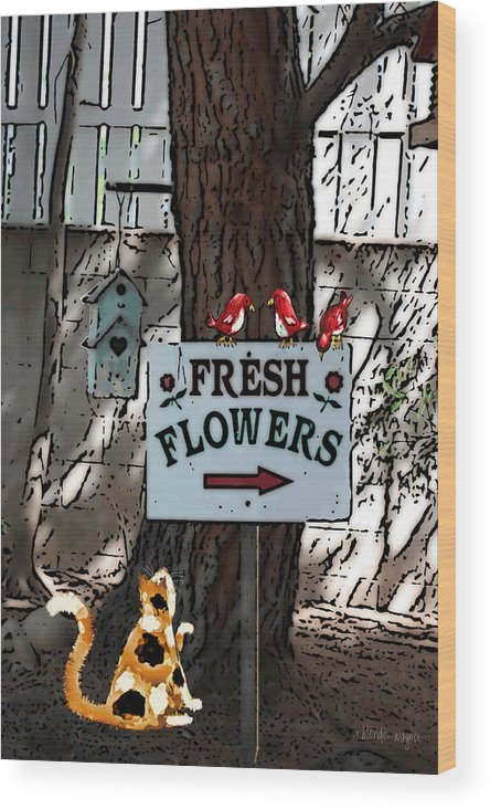 Tree Wood Print featuring the mixed media Fresh Flowers by Arline Wagner