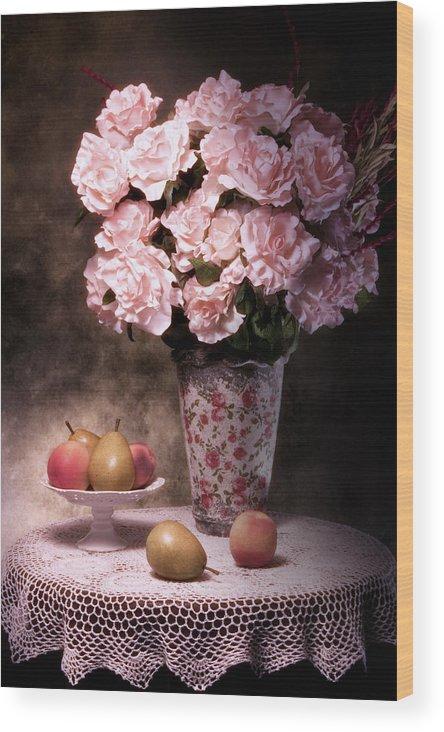 Arrangement Wood Print featuring the photograph Fruit With Flowers Still Life by Tom Mc Nemar