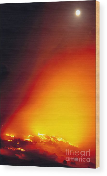 A'a Wood Print featuring the photograph Full Moon Over Lava by Peter French - Printscapes