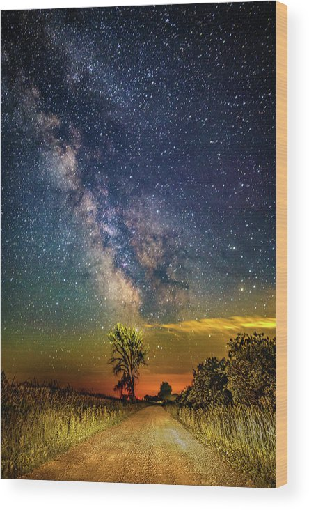Landscape Wood Print featuring the photograph Galactic Dirt Road by Jeff Berry