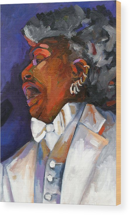Portrait Wood Print featuring the painting Gaye Adegbalola by Jackie Merritt
