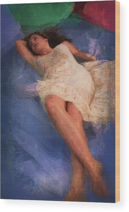 Girl Wood Print featuring the painting Girl In The Pool 6 by Mike Penney