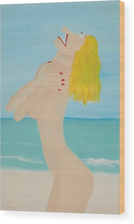 Funism Wood Print featuring the painting Girl On Beach by Sal Marino