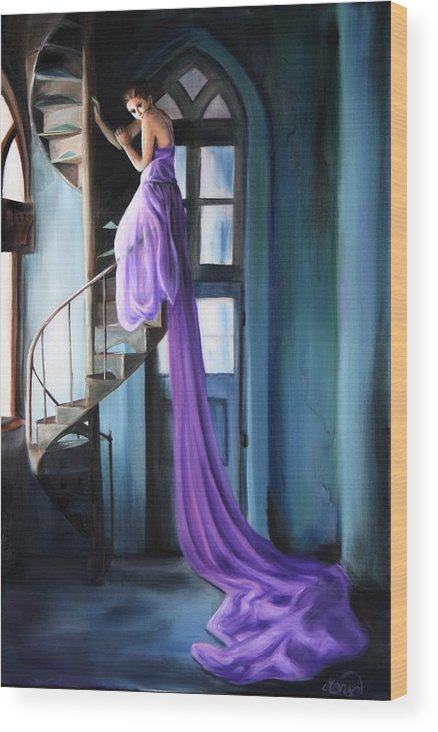 Girl Wood Print featuring the painting Girl On Staircase by Maryn Crawford