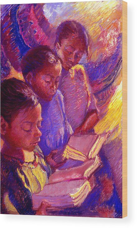 Girls Wood Print featuring the painting Girls Reading by Ellen Dreibelbis
