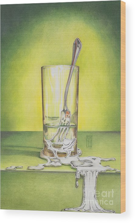 Bizarre Wood Print featuring the painting Glass With Melting Fork by Melissa A Benson