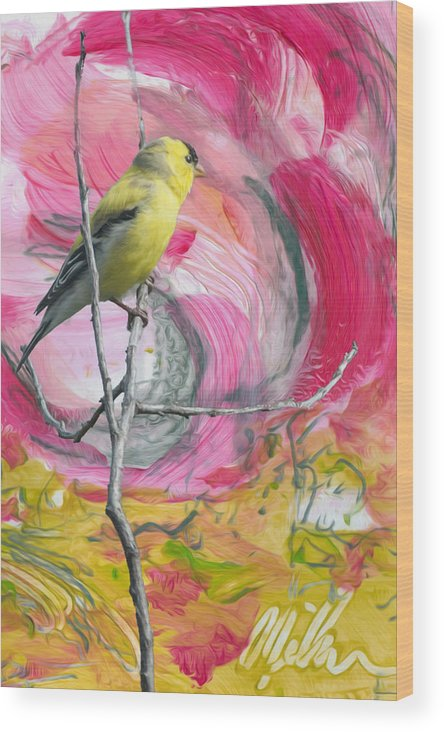 Gold Finch Wood Print featuring the digital art Gold Finch by Jacqueline Milner